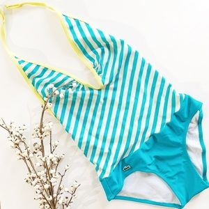 Lacoste turquoise stripped swimsuit!